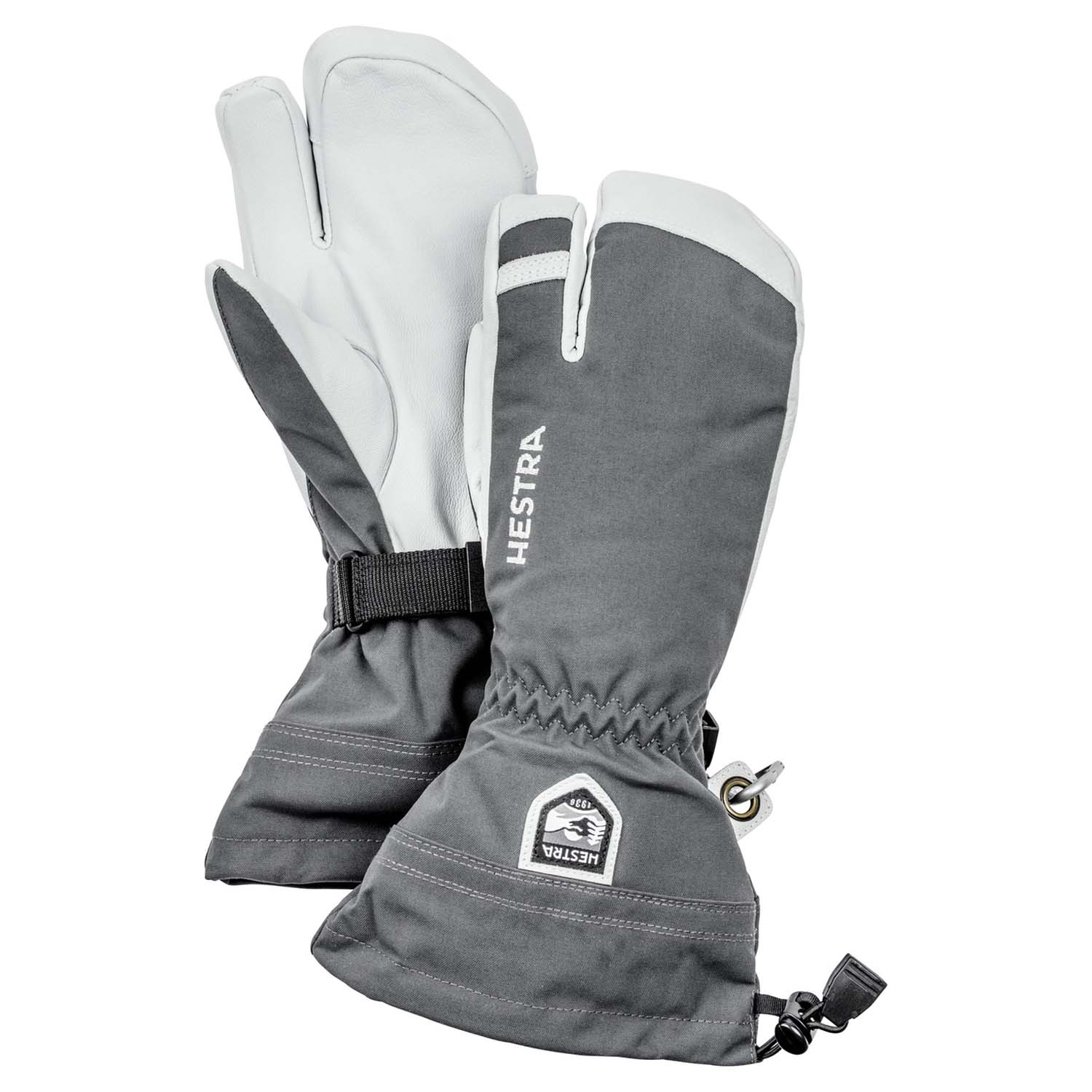 Hestra Army Leather Heli Ski 3-Finger Glove Grey 2020