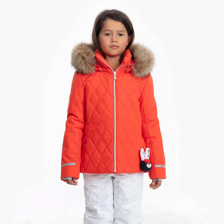 Poivre Blanc Junior Quilted Faux Fur Ski Jacket Clementine Orange 2020