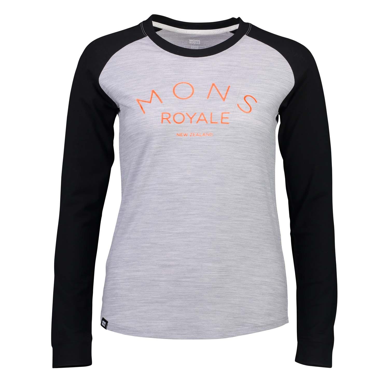 Mons Royale Viva La Raglan LS Grey Marl/Black 2020