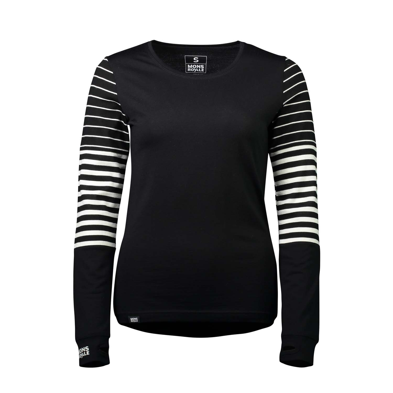 Mons Royale Cornice LS Black/Thick Stripe 2020