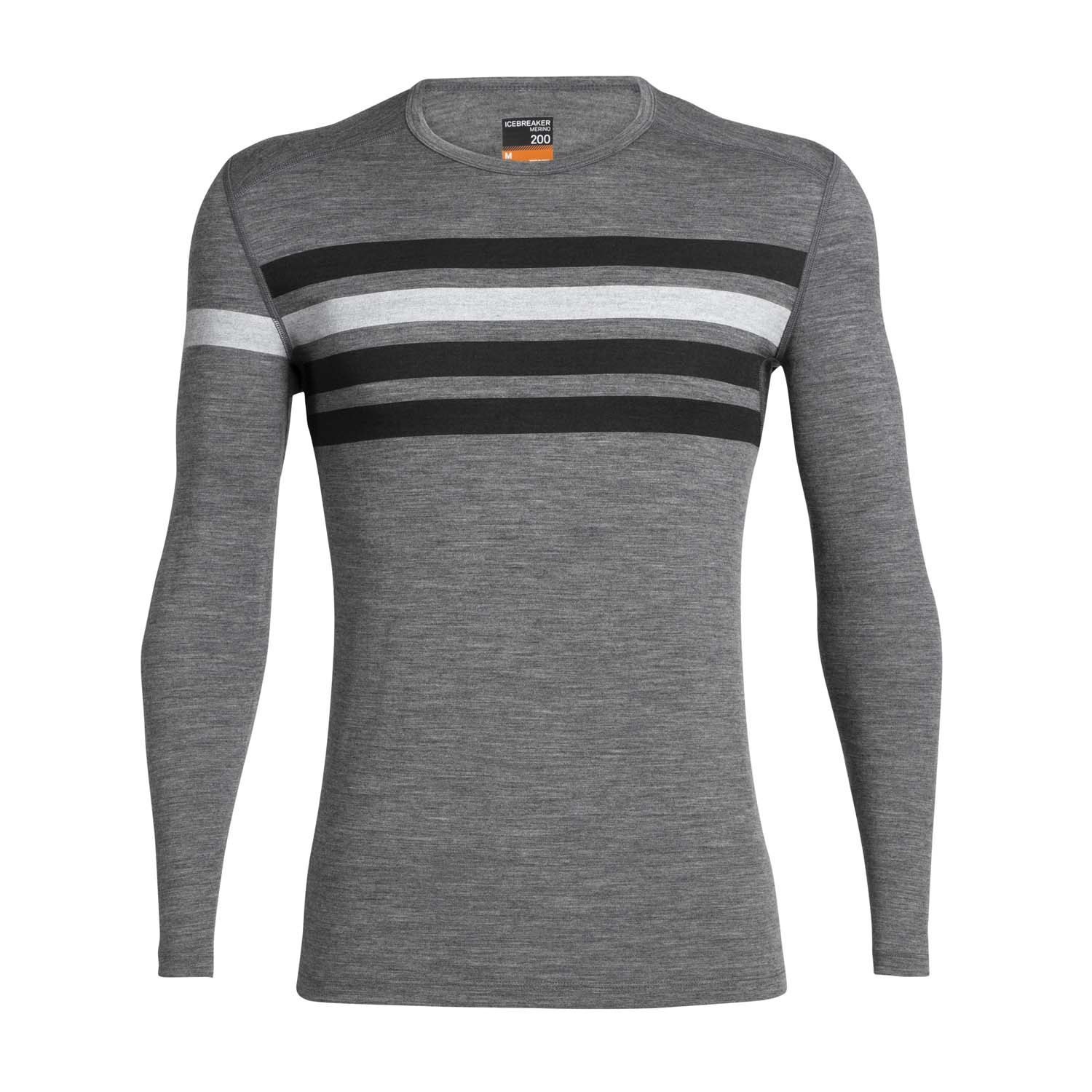 Icebreaker Mens 200 Oasis Long Sleeved Crewe Heritage Stripe Gritstone Heather 2020