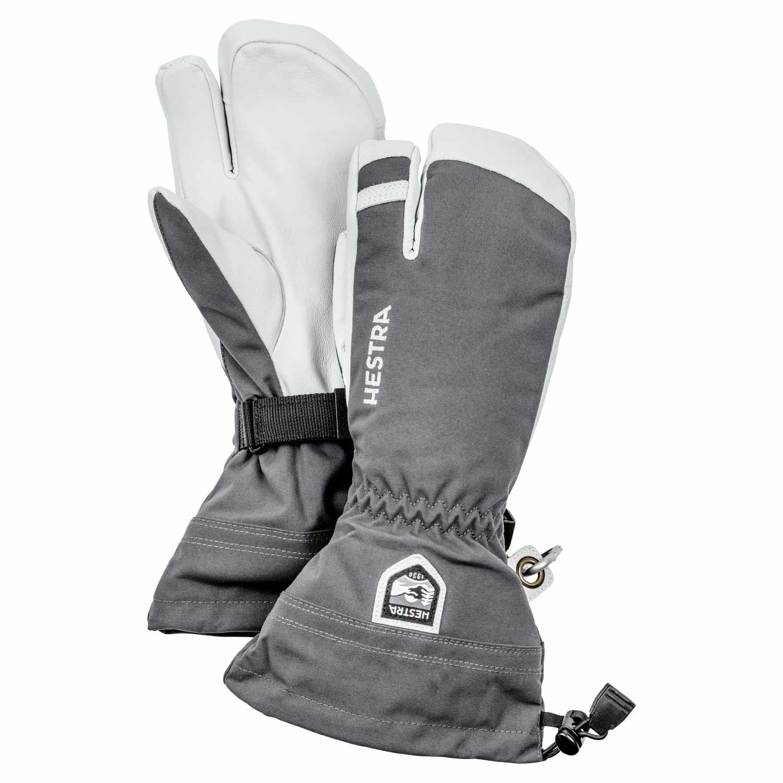Hestra Army Leather Heli Ski 3-Finger Gloves Grey 2021