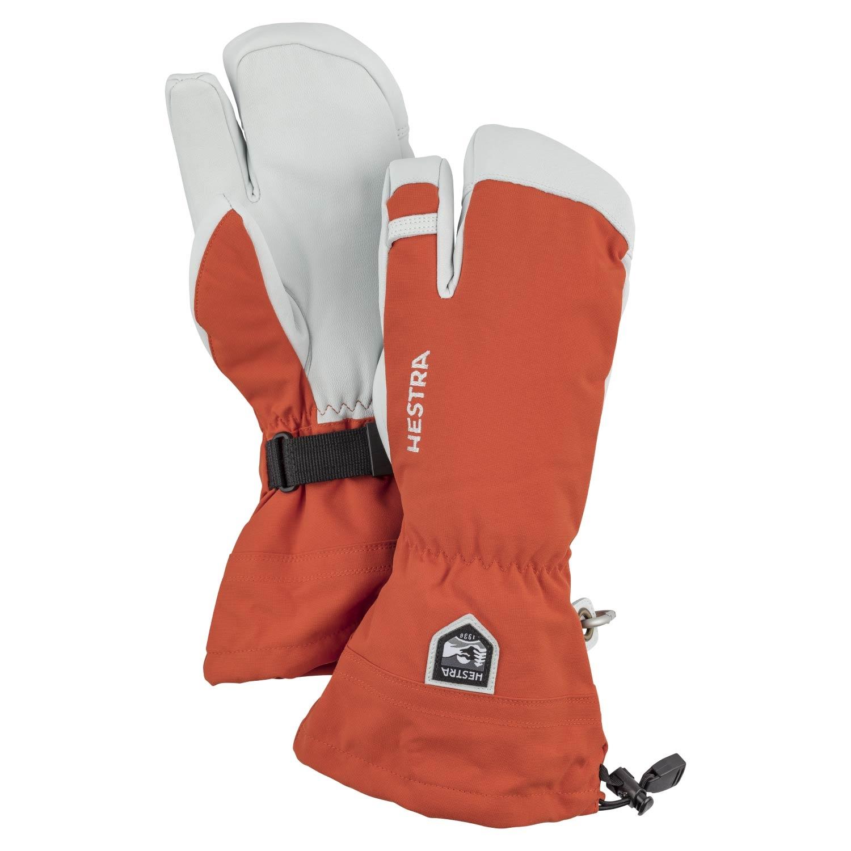 Hestra Army Leather Heli Ski 3-Finger Gloves Brick Red 2021