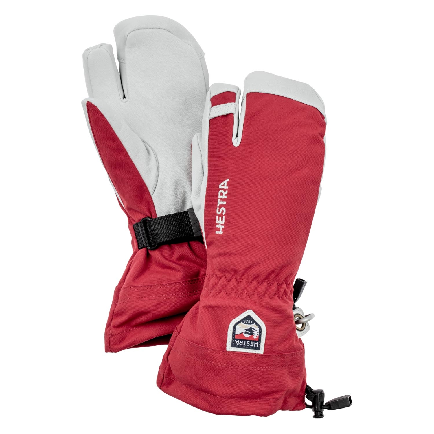 Hestra Army Leather Heli Ski 3-Finger Gloves Red 2021