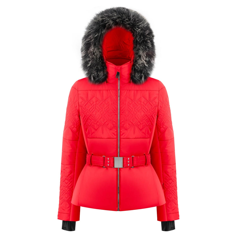 Poivre Blanc Quilted Faux Fur Ski Jacket Scarlet Red 2021