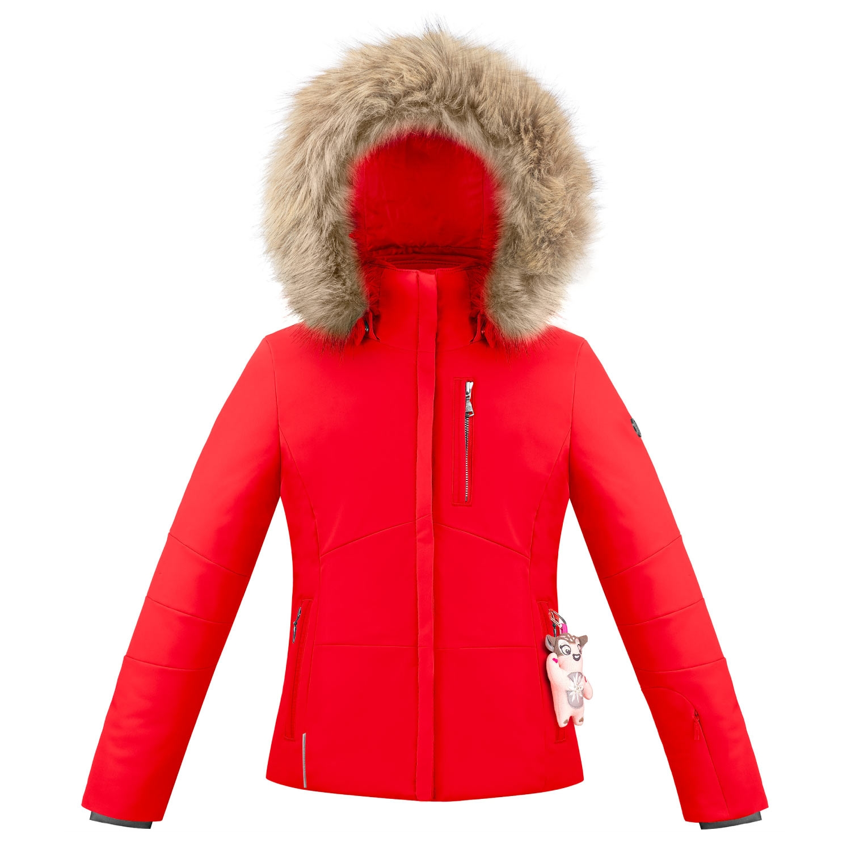 Poivre Blanc Junior Stretch Faux Fur Ski Jacket Scarlet Red 2021