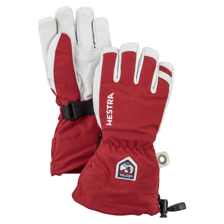 Hestra Army Leather Heli Ski Junior Gloves Red 2021