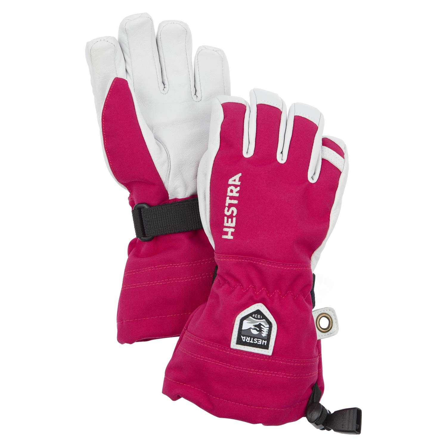 Hestra Army Leather Heli Ski Junior Gloves Pink 2021