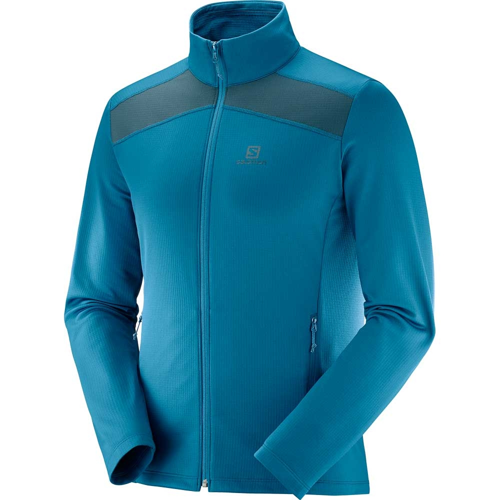 Salomon Discovery LT FZ Mens Midlayer Moroccan Blue/Reflecting Pond 2019