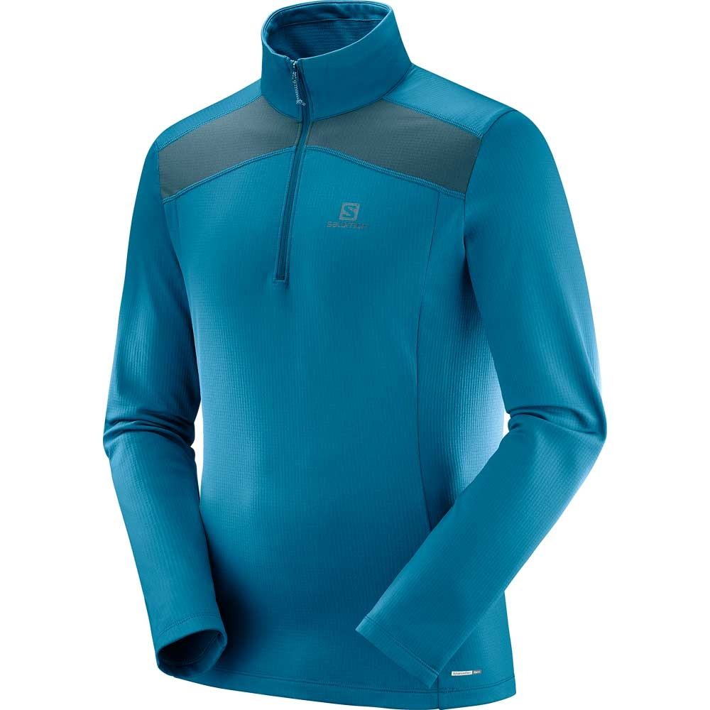 Salomon Discovery LT HZ Mens Midlayer Moroccan Blue/Reflecting Pond 2019