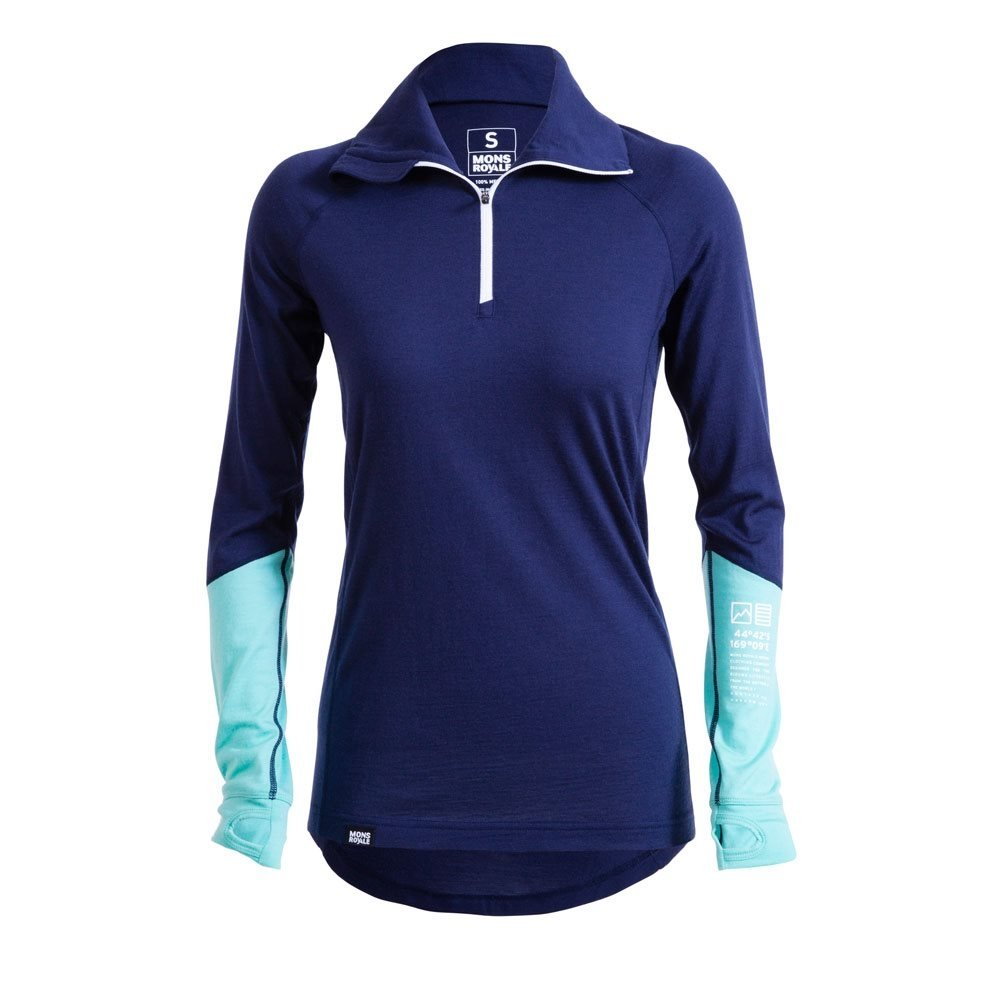 Mons Royale Checklist LS 1/4 Zip Navy and Mint 2017