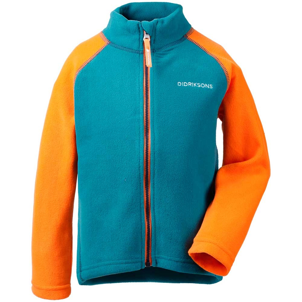Didriksons Monte Kids Microfleece Jacket Glacier Blue/Bright Orange 2019