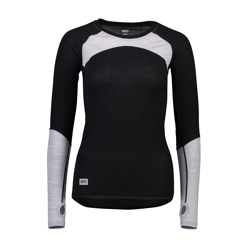 Mons Royale Bella Tech LS Black/Grey Marl 2019