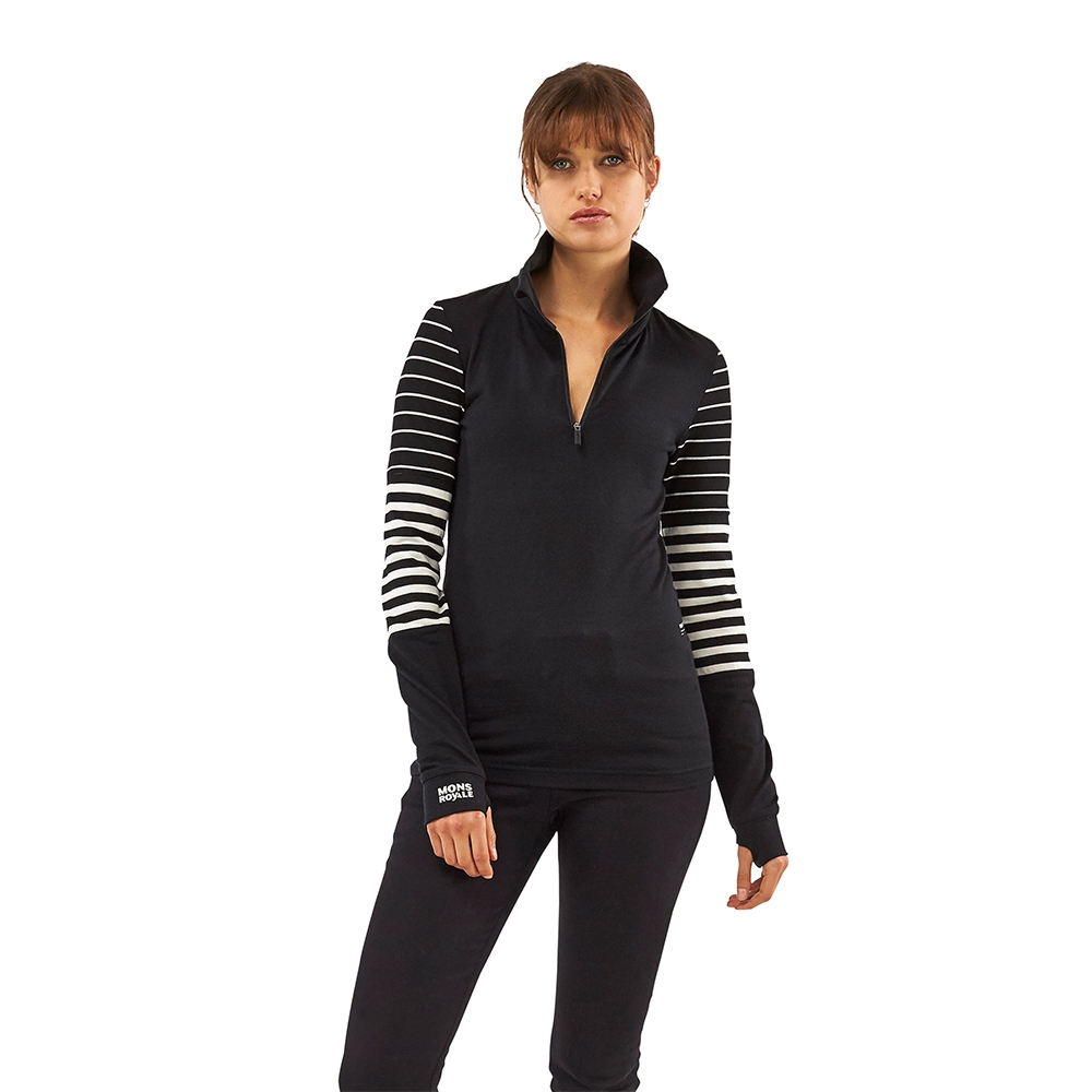 Mons Royale Cornice Half Zip Black/thick Stripe/Thin Stripe 2019