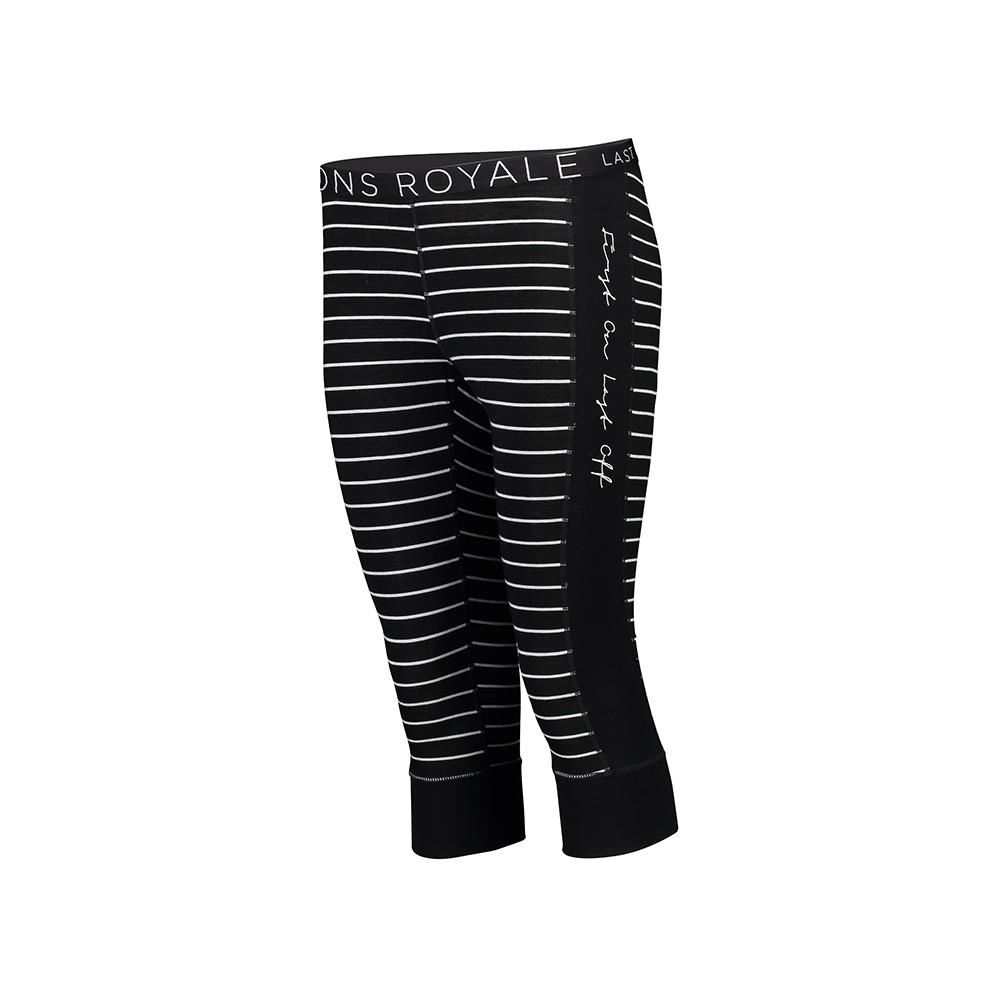 Mons Royale Alagna 3/4 Legging Black/Thin Stripe 2019