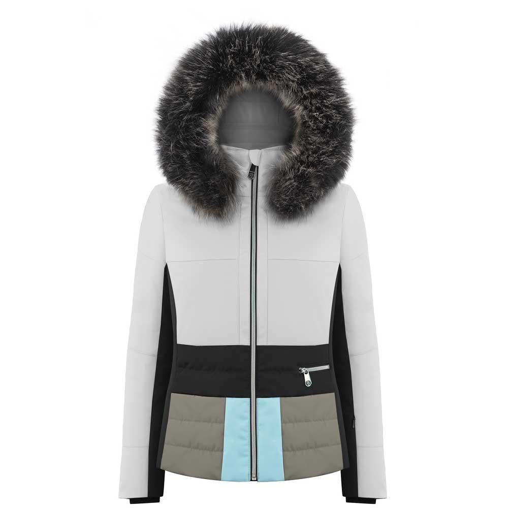 Poivre Blanc Stretch Panel Faux Fur Jacket White/Multico 2019