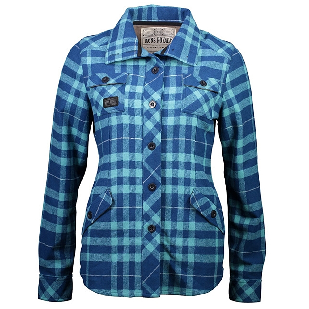 Mons Royale Mountain Shirt Womens Oily Blue/Tropicana 2019